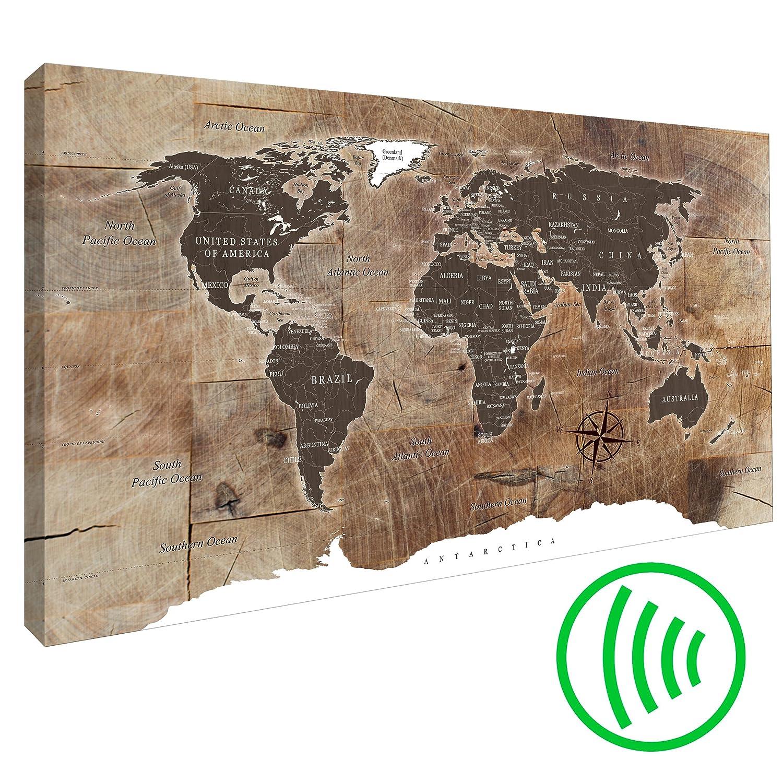 decomonkey Akustikbild 120x80 cm Pinnwand Weltkarte Leinwand Wandbilder als Korktafel Korkwand nutzbar Wandbilder XXL Schallschlucker Schallschutz Akustikdämmung leise Landkarte Karte Reise