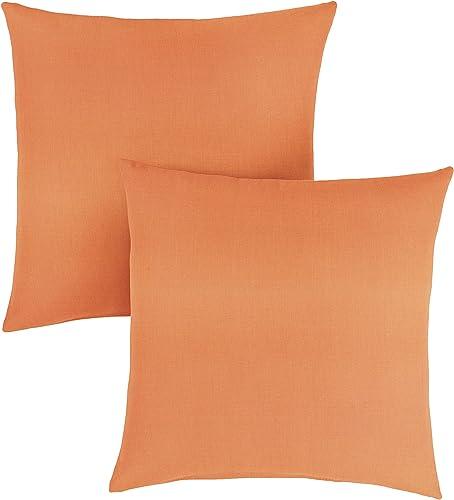 1101Design Sunbrella Canvas Tangerine Knife Edge Decorative Indoor Outdoor Square Throw Pillow, Perfect for Patio Decor – Tangerine Orange 24 Set of 2