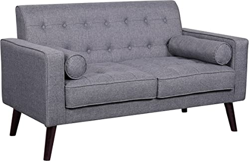 Container Furniture Direct Valadez Linen Upholstered Tufted Mid-Century Modern Loveseat with Bolsters, Light Grey