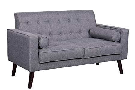 Container Furniture Direct S5303-L Valadez Linen Upholstered Tufted Mid-Century Modern Loveseat with Bolsters, Light Grey