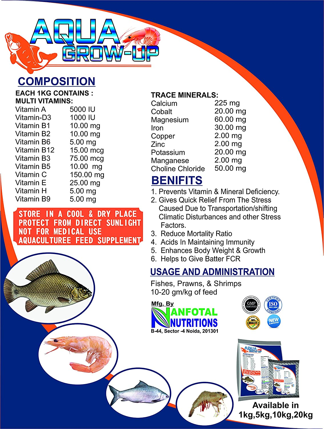 Anfotal Nutritions, Aquagrow Up, Aquaculture Multivitamin Feed ...