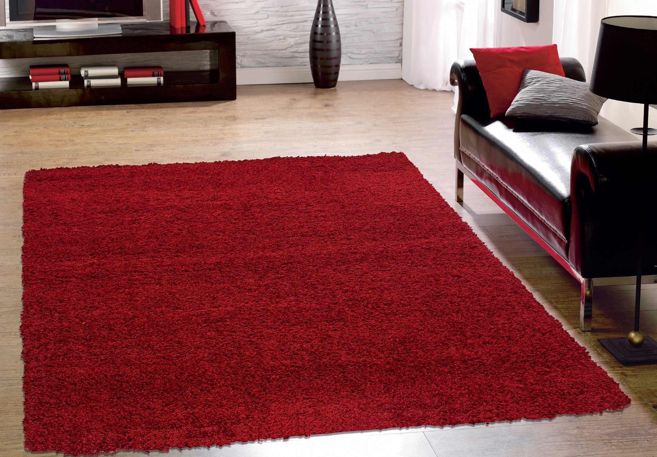 Sweet Home Stores Cozy Shag Collection Solid Shag Rug, 5'3'' X 7', Red Color