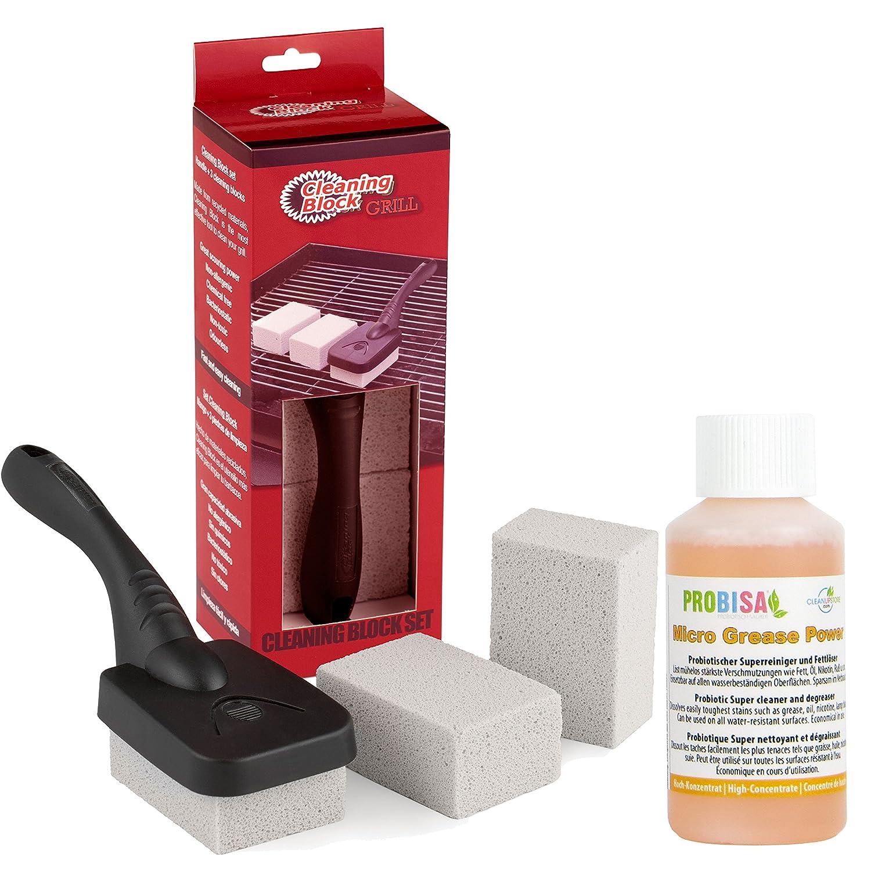 Juego limpiador para su parrilla de gas o carbón vegetal de Acero Inoxidable (1 mango, 3 piedras de limpieza y 50ml de concentrado removedor de grasa ...