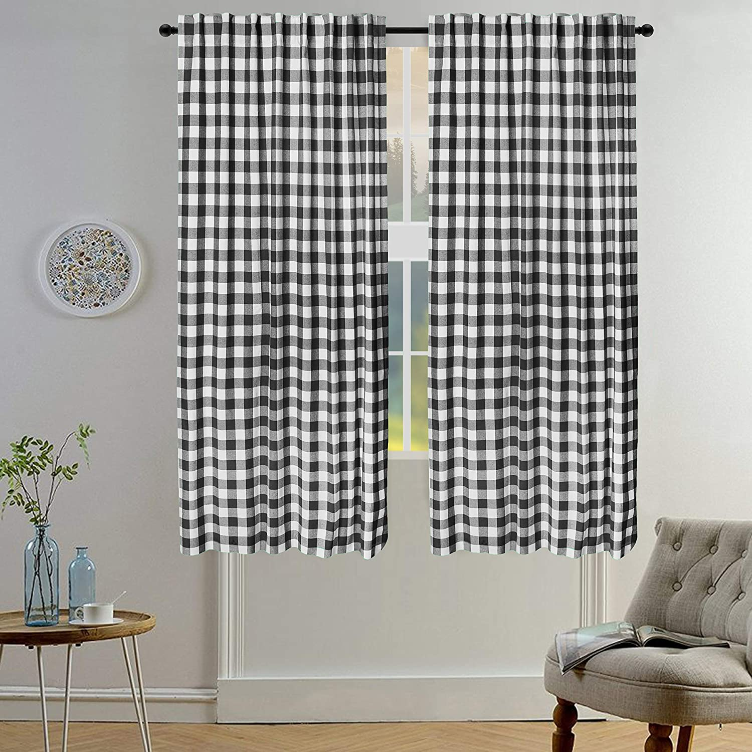 Gingham Check Curtain, Window Treatment Panels, Décor Panel, Nursery Curtain, Farmhouse Curtain, Kitchen Curtain, Bathroom Curtain, Living Room Curtain - 50x63 Inch - Black White - Set of 2 Panels