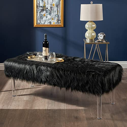Christopher Knight Home Klamma Glam Black Faux Fur Short and Straight Furry Ottoman with Clear Acrylic Legs,