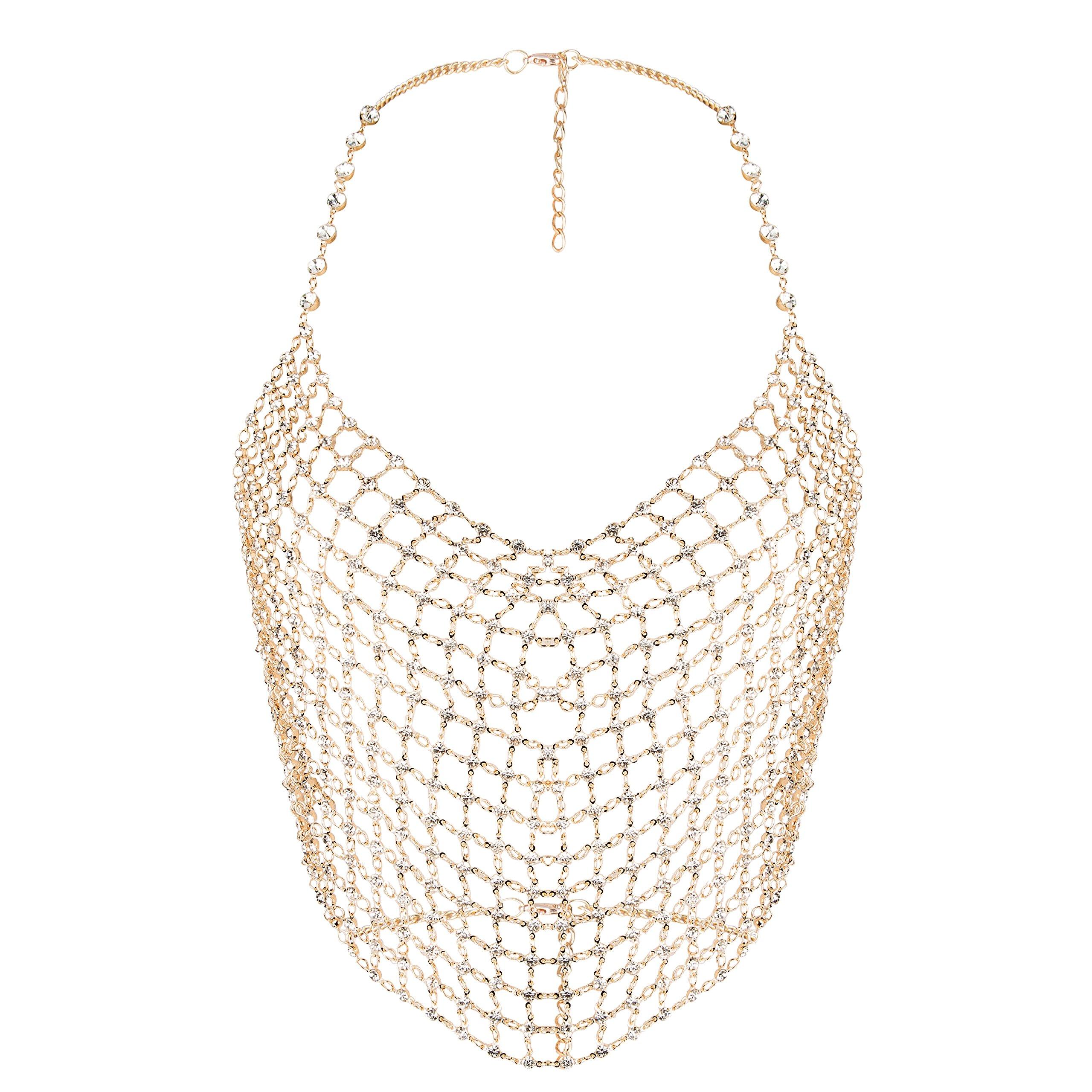 lan27 Sexy Women Nightclub Bling Crystal Bellyhand Party Body Chain Jewelry Bikini Waist Gold Belly Beach Cami Tops Vest Tank (bellyband)