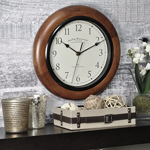 FirsTime Co. Walnut Round Wall Clock, 11