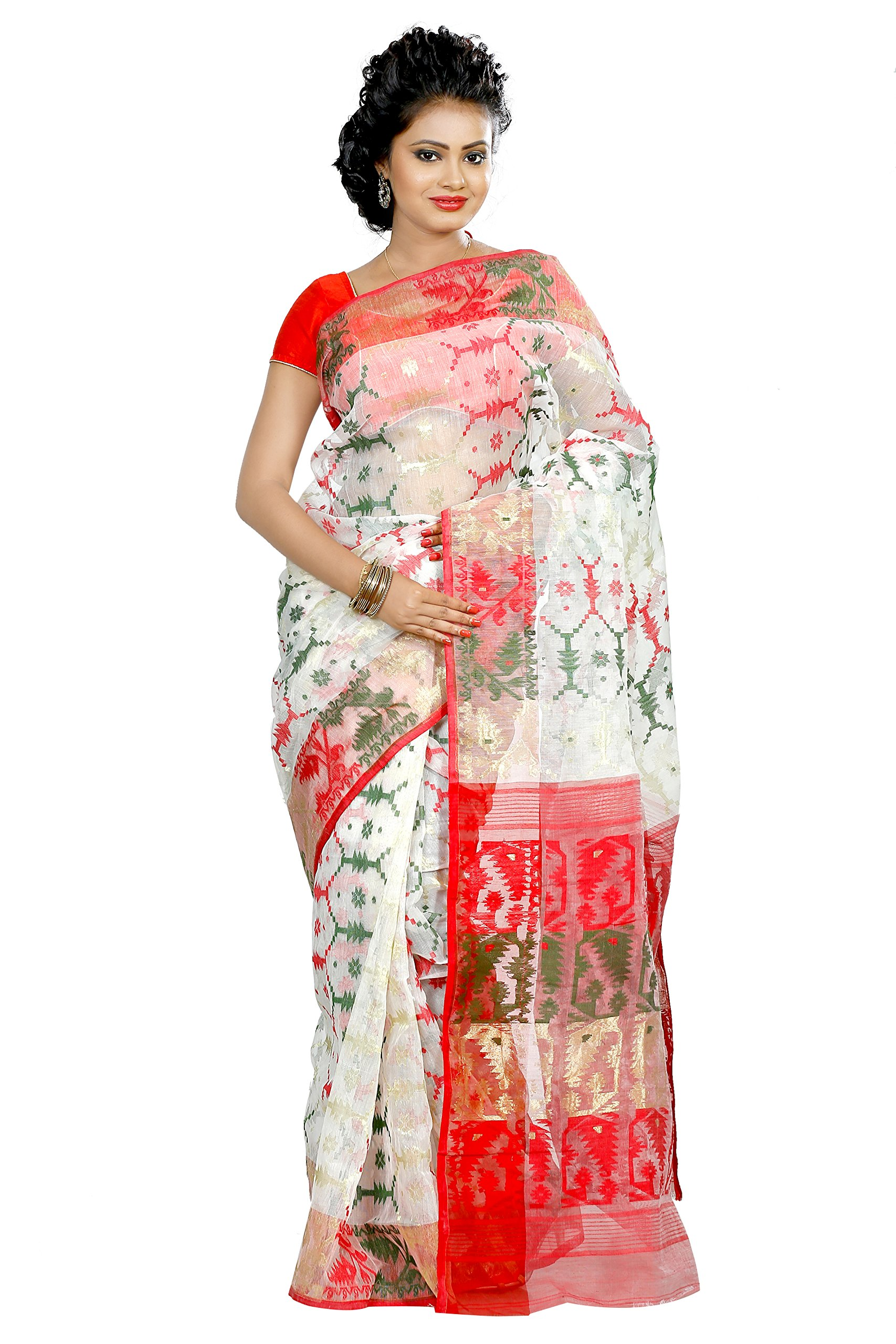 B3Fashion Handloom Traditional Dhakai Jamdani saree
