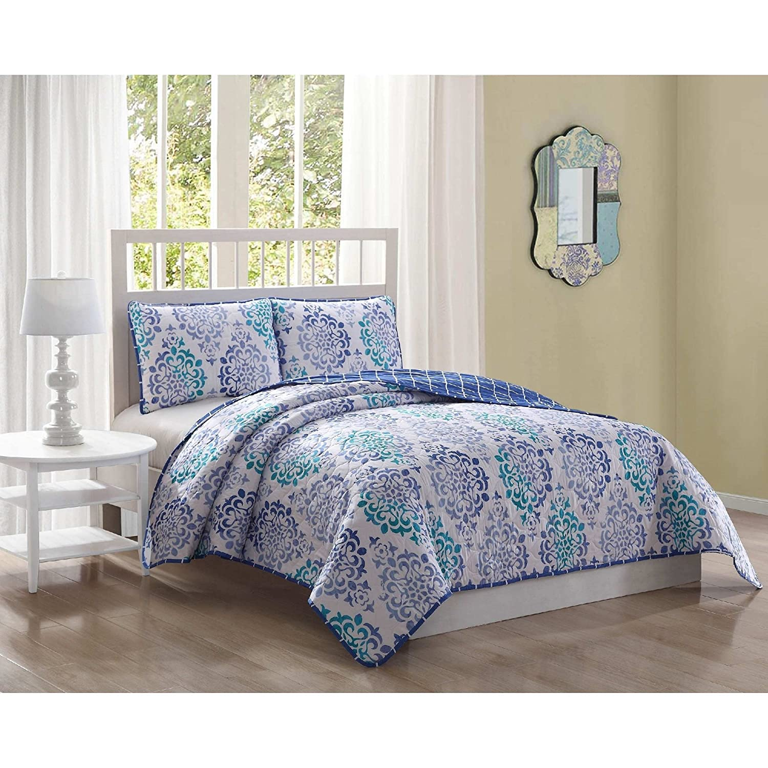 3 Piece Exotic Floral Medallion Design Reversible Quilt Set Queen Size, Printed Tribal Bohemian Flowers Bedding, Modern Reverse Geometric Checks Checkered Themed, Graphic Nature Pattern, Teal, Purple