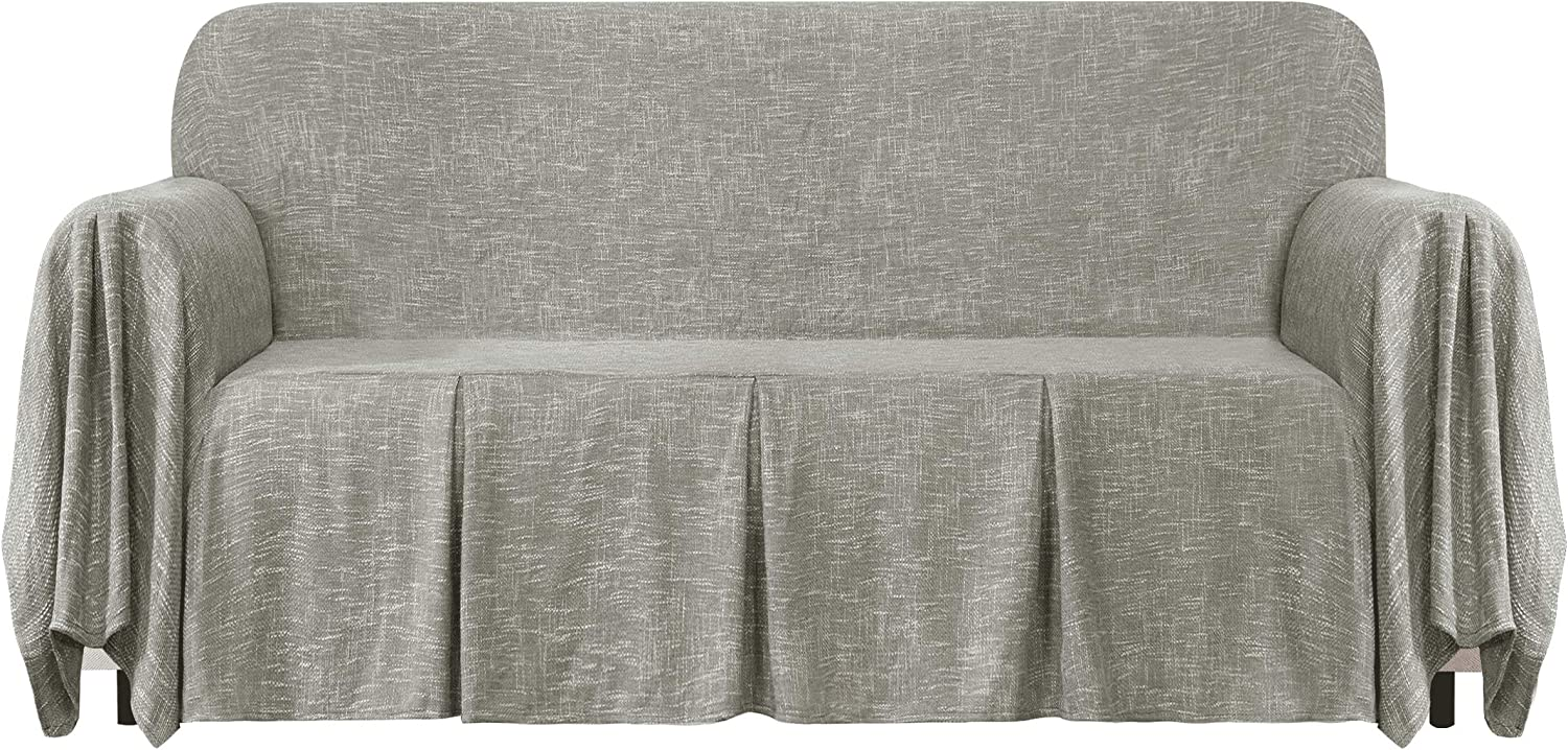 CHUN YI Linen 1-Piece Couch Cover, Sofa Throw Slipcover with Ruffle Design for Kids and Pets in The Living Room, Large, Light Gray