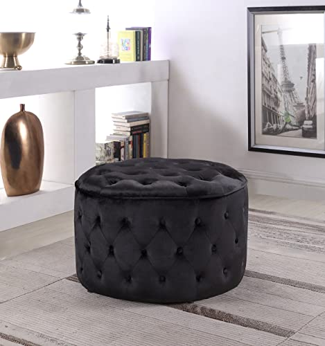 Iconic Home Batya Ottoman Button Tufted Velvet Upholstered Round Pouf Modern Contemporary