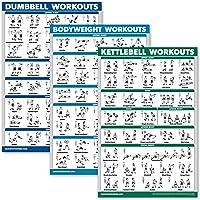 QuickFit 3 stuks - haltertrainingen + Kettlebell-oefeningen + lichaamsgewicht Routine posterset - set van 3…
