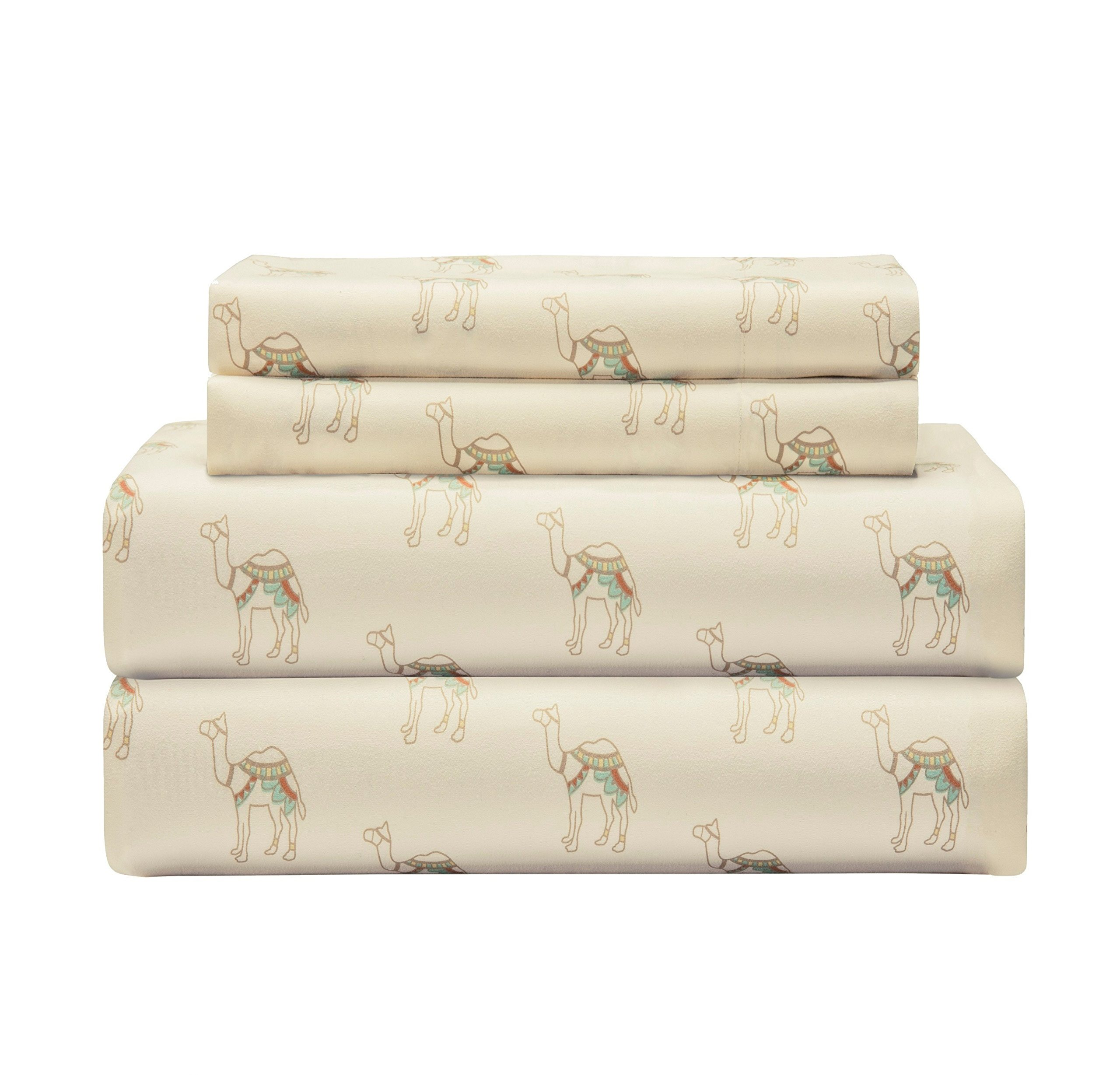 3 Piece Girls Camels Beige Brown Sheet Twin Xl Set, Light Brown Color Animal Print Boho Printed Kids Bedding Teen Bedroom, Whimsical Design Contemporary Zoo Desert Animals, Polyester
