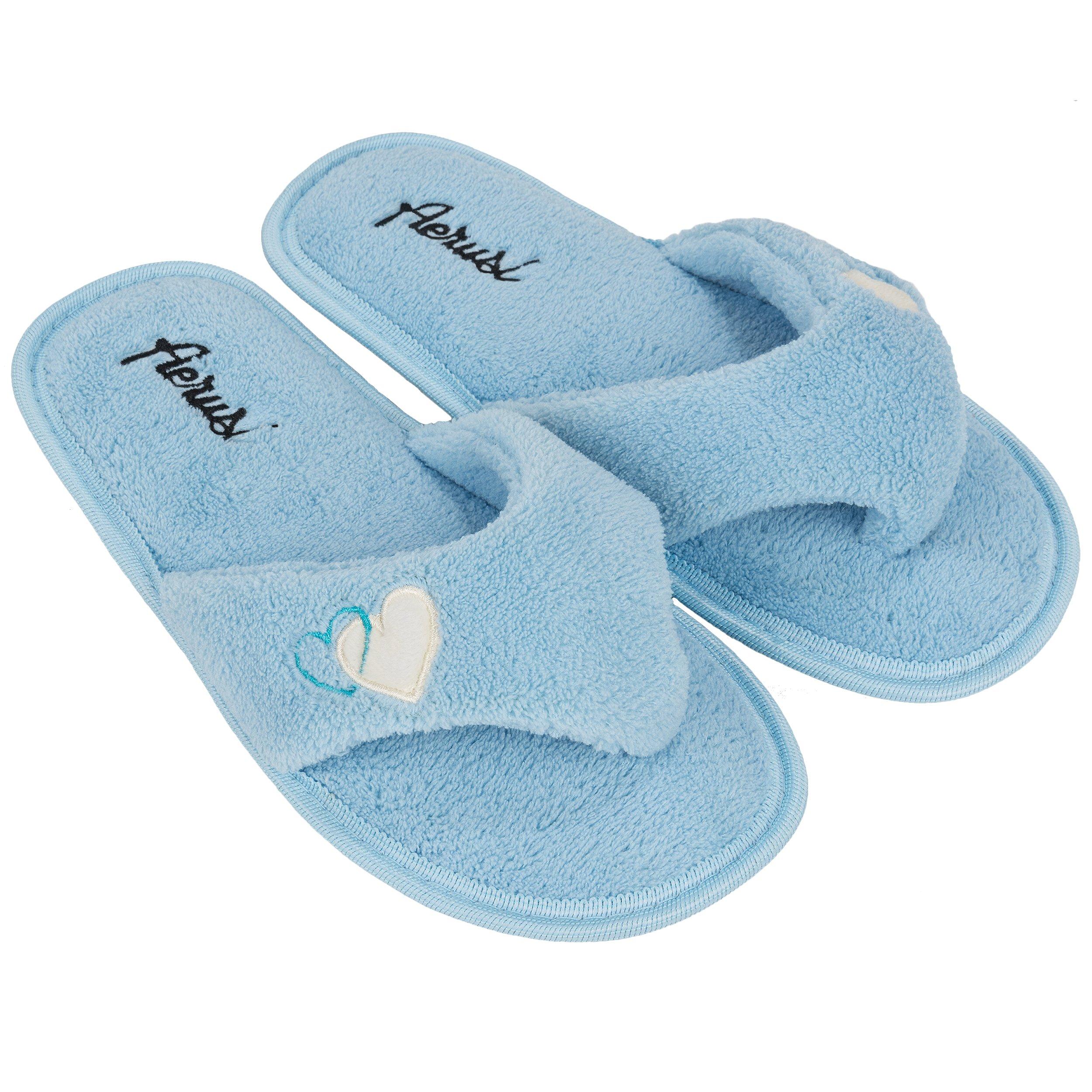 Aerusi Heart Love Women's Splash Spa Bedroom Home Thong Slipper (7 B(M) US, Blue)