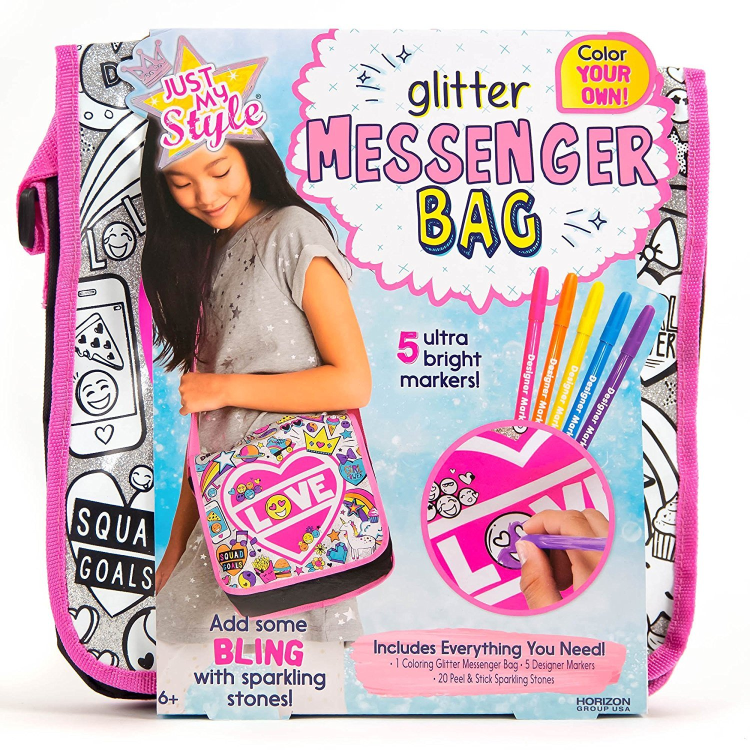 Just My Style Color Your Own Glitter Messenger Bag by Horizon Group USA, Girl Power Purse, Sparkling Gem Stones & 5 Bright Markers Included, Multicolored