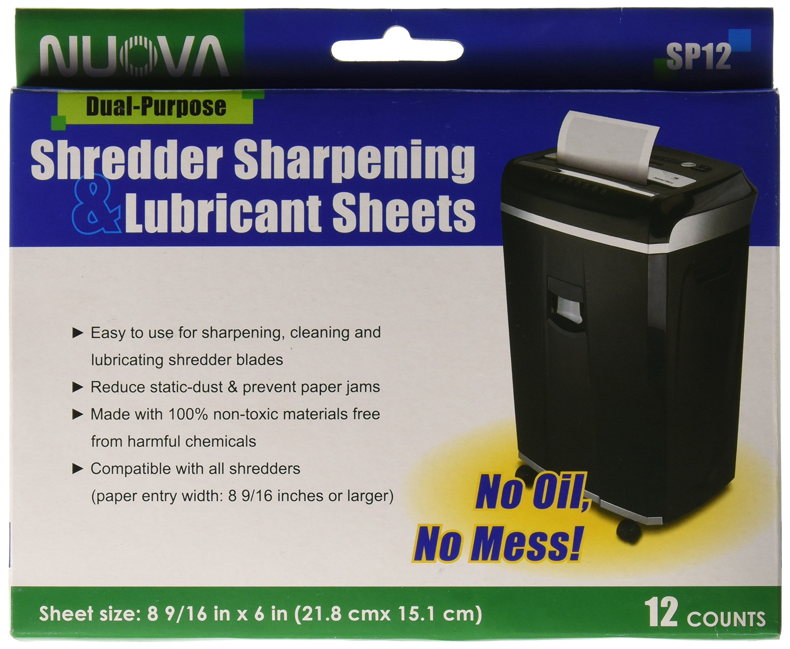 Nuova Shredder Sharpening & Lubricant Sheets - 12 counts by NUOVA (Image #1)