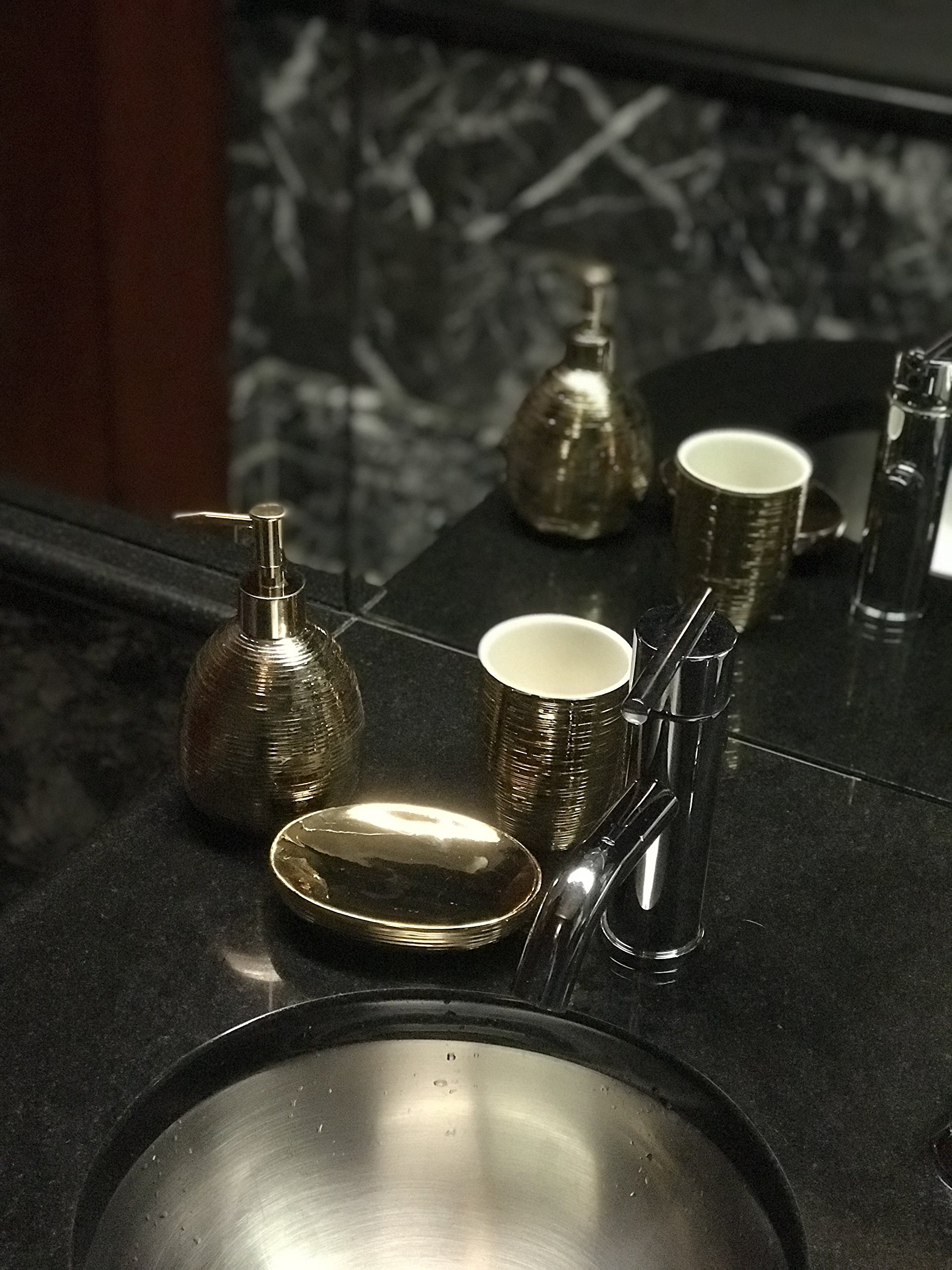 M&R Blvd. Golden Ceramic Bathroom Accessory Set. 3 Piece Bath Set Featuring Soap/Lotion Dispenser Pump, Toothbrush Holder/Tumbler And Soap Dish Made Of Golden Mosaic Ceramic.