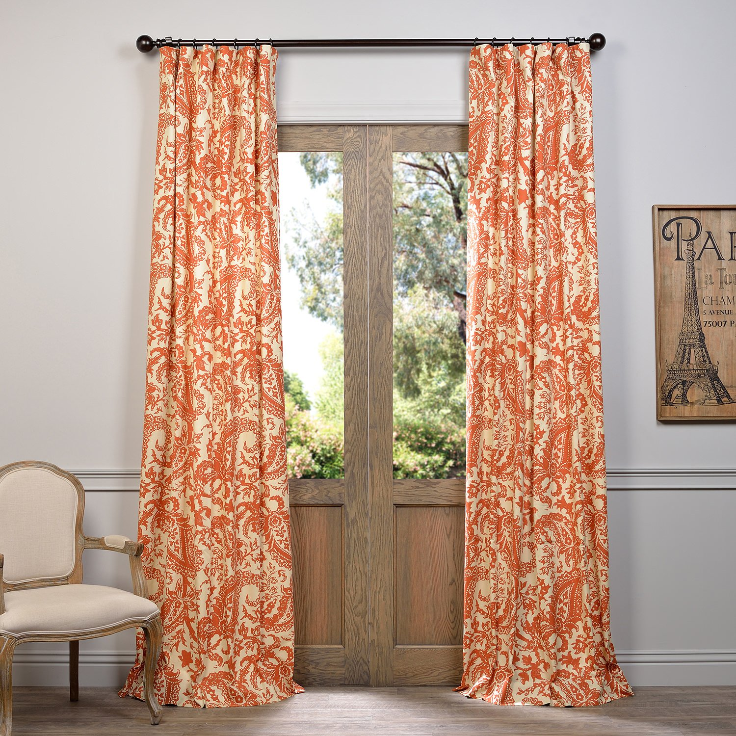 Half Price Drapes PRCT-D09A-96 Edina Rust Printed Cotton Curtain, Orange