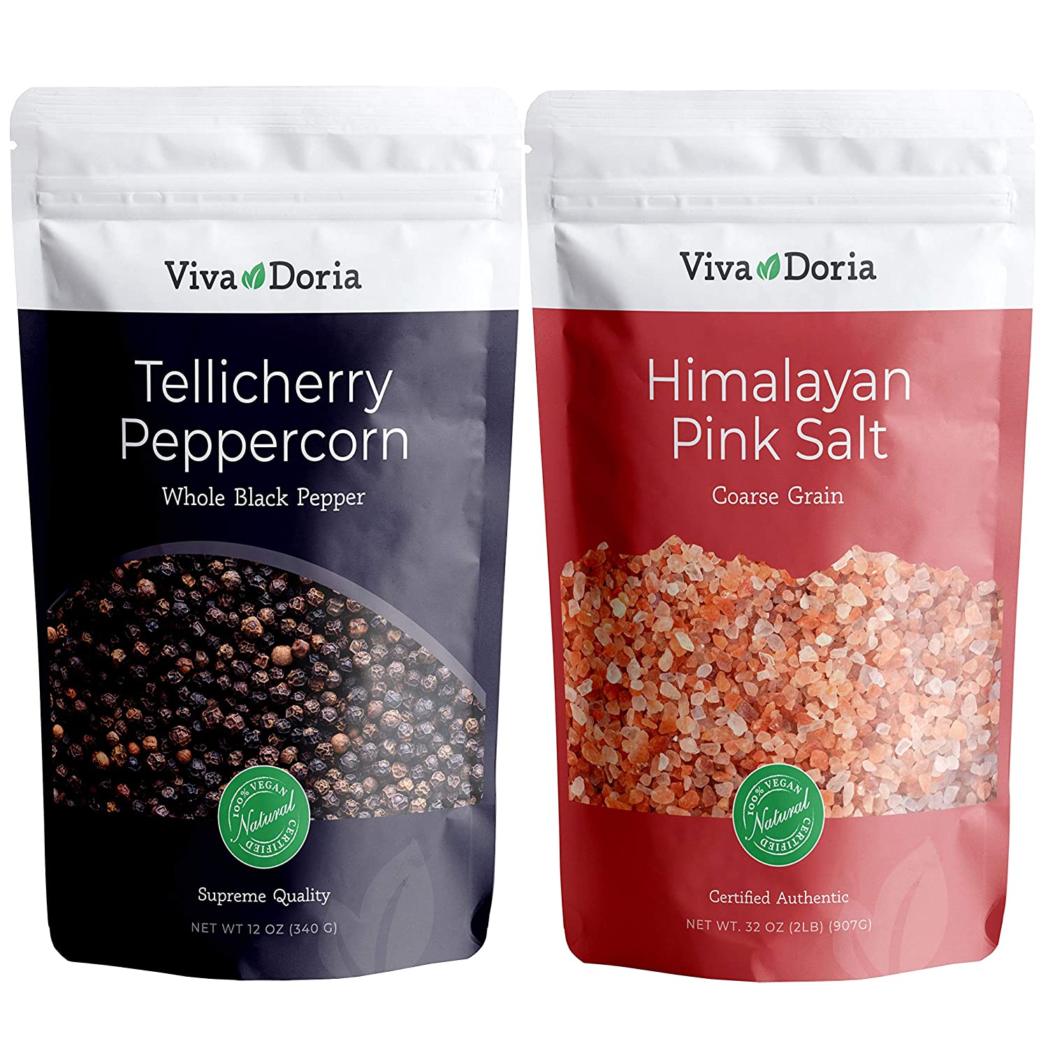 Viva Doria Tellicherry Peppercorn - Black Peppercorns (Steam Sterilized Whole Black Pepper) 12 oz and Himalayan Pink Salt (Coarse Grain) 2 lb for Grinder Refills