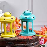 Sammsara Decorative Lantern / Lamp with t-light candle , Hanging Light , T-Light Candle Holder , Indoor / Outdoor Decoration , Yellow & Blue , Size :- (6 inch x 3. 7 Inch x 3. 7 Inch Each Lantern) Set Of 2 Home Décor