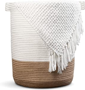 "Extra Large Woven Storage Baskets | 18"" x 16"" Decorative Blanket Basket Living Room, Woven Laundry Basket For Bedrooms, Large Wicker Basket For Blanket, Pillows, Throws 