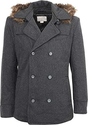 Mens Wool Double Breasted Pea Coat with Removable Hood