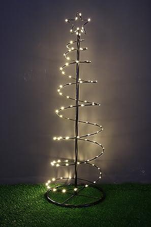 LED Spiral-Lichterbaum aus Metall mit 100 LED / warm-weiß / 120 cm hoch / Ø 40 cm / Christbaum / Weihnachtsbaum / für Innen und Außen