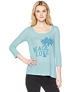 45c423031d2 Amazon.com: Lucy Love Women's Moody Blues Stripe Lace up Tunic Top ...