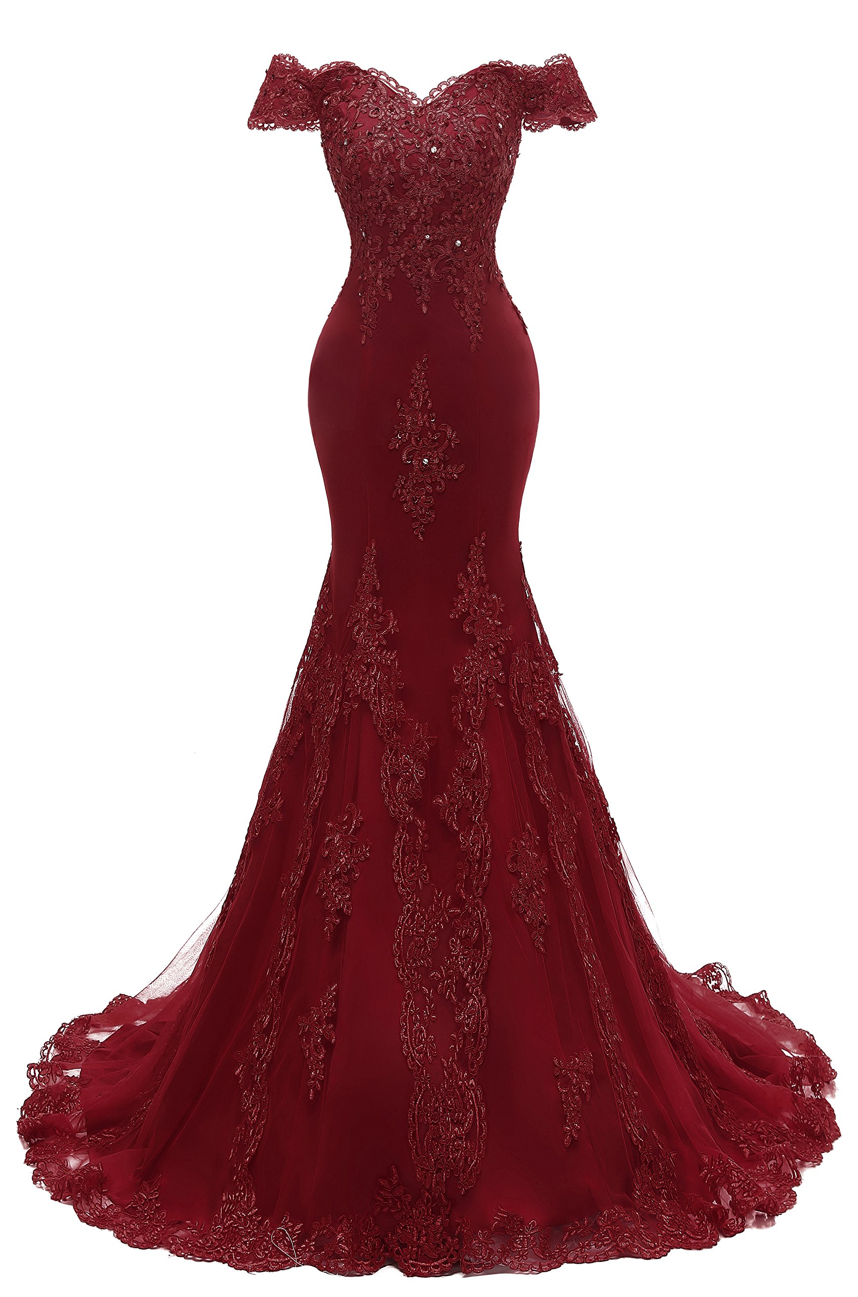 Himoda Womens V Neckline Beaded Evening Gowns Mermaid Lace Prom Dresses Long H074