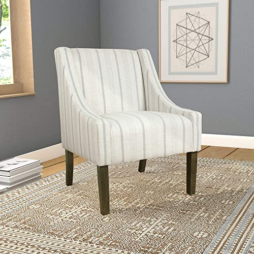 Accent Chair Grey Striped Transitional Pattern Wood Includes Hardware
