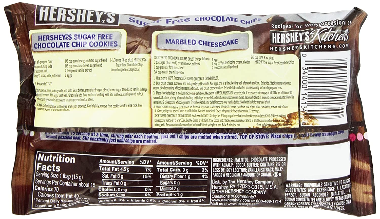 Amazon.com : Hershey\'s Sugar Free Semi-Sweet Baking Chips, 8 Ounce ...