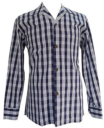 4a9fdbe01 Men's Classic Hawaiian Paniolo Palaka Plaid Long Sleeve Shirt, Navy Blue,  ...