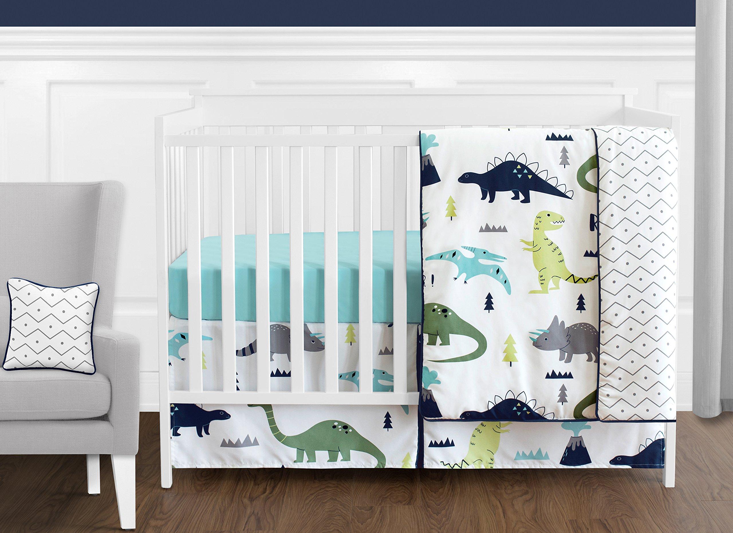Sweet Jojo Designs 11-Piece Navy Blue and Green Modern Dinosaur Baby Boys or Girls Crib Bedding Set Without Bumper