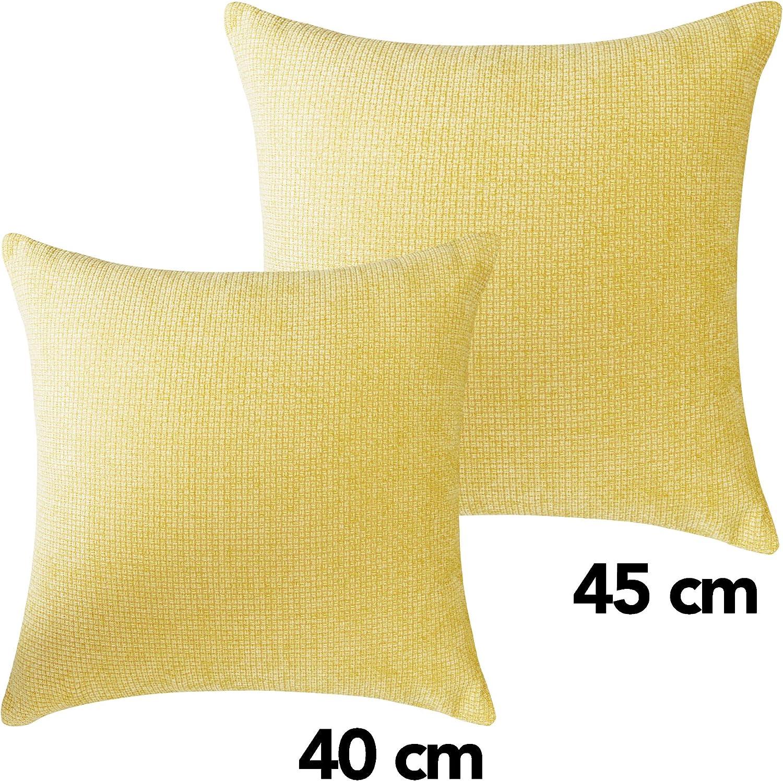 UMI Essentials Plain Chenille Cushion Covers 16 x 16 Inch Light Blue Set of Four