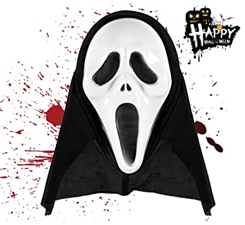 TK Gruppe Timo Klingler 1x Máscara Espeluznante de Zombies Negros para Halloween Scream como Disfraz para