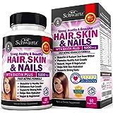 Hair Skin and Nails Vitamin with Biotin 5000. Promotes Hair Growth Glowing Skin Strong Nails. Natural & Vegetarian. Good as Phytoceramides 350 mg Anti-aging Skin Care. Made In USA Money Back Guarantee