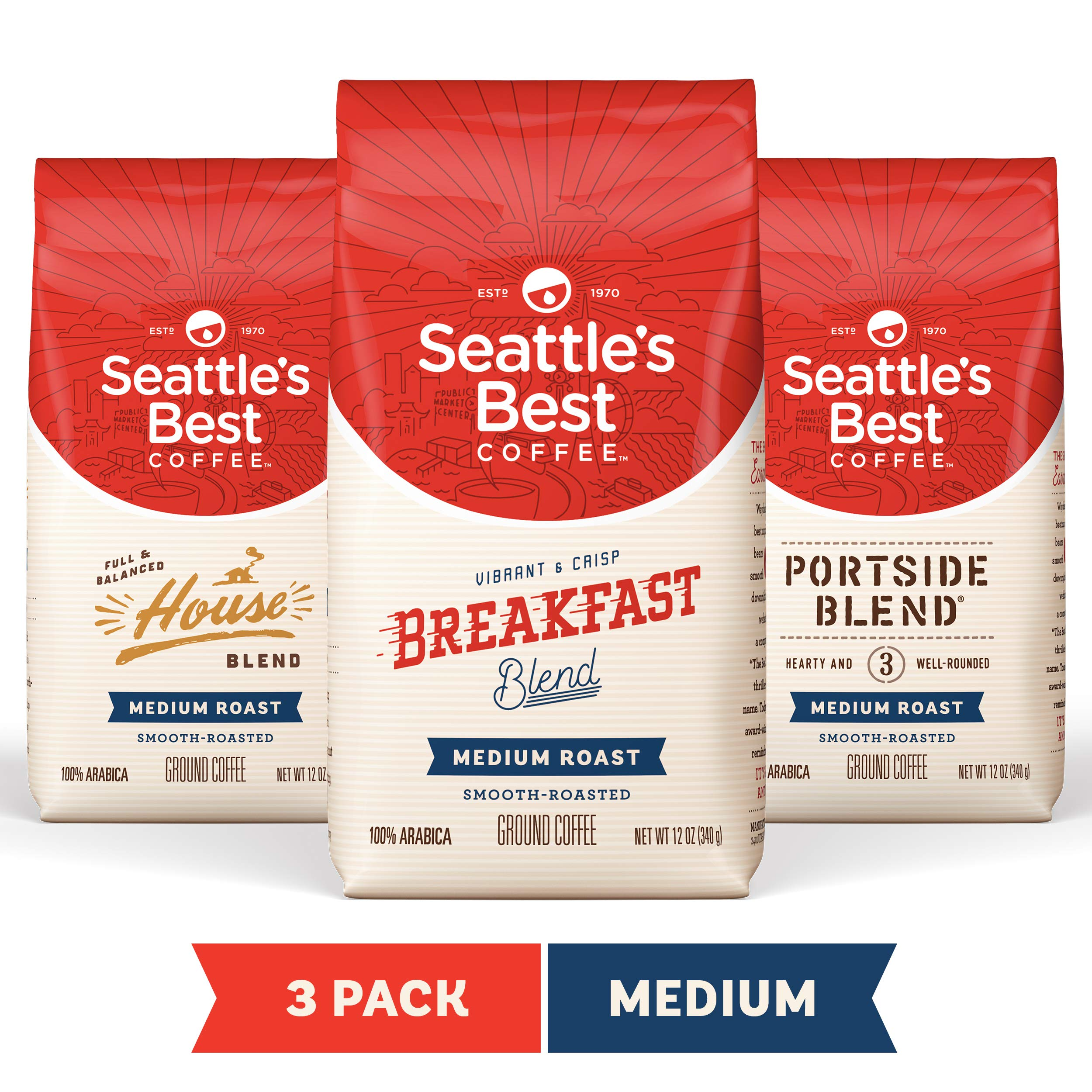 Seattle's Best Coffee Medium Roast Ground Coffee Variety Pack, Three 12 Ounce (Pack of 3) by Seattle's Best Coffee
