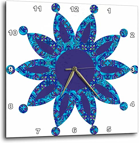 3dRose Blue Moroccan Dot Point Flower-Wall Clock, 13-inch DPP_176226_2