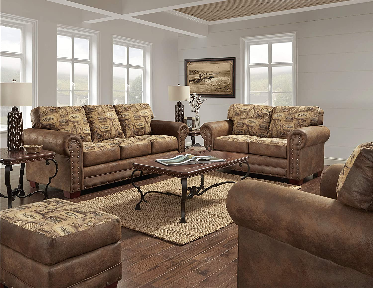 American Furniture Classics Model River Bend 4-Piece Sleeper upholstery set, Brown