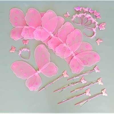 Butterfly Craze Fairy Wings and Wand for Girls Birthday Party Favor in Bulk Packages 6 Pink Set: Toys & Games