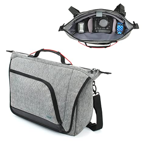 USA Gear Messenger Camera Bag for DSLR/SLR with Customizable Dividers, Weather Resistant Bottom