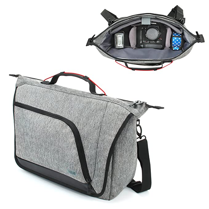 Amazon.com : USA Gear Messenger Camera Bag for DSLR/SLR with Customizable Dividers, Weather Resistant Bottom, Comfortable Back Support and Adjustable Strap ...