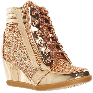 shoewhatever Women s Metallic Glitter High Top Lace Up Wedges Heels Fashion  Sneakers (Rose Gold