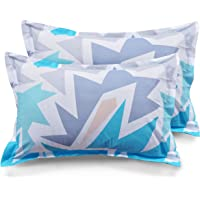 Ahmedabad Cotton 2 Piece Cotton Pillow Cover Set - 18 inch x 27 inch, Blue and Grey