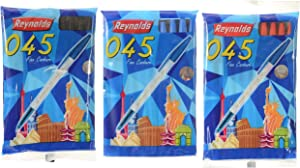 Reynolds 045 Stick Ballpoint Pens Blue Ink, 3 Packs (Ship From India)
