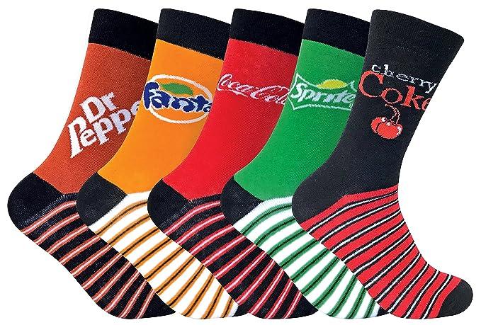 Coca-Cola - 5 Pares Unisex Colores Fantasia Festivo Diseño Divertidos Suave Algodón Calcetines para Hombre y Mujer (One size, 5 Pack (CL295)): Amazon.es: ...
