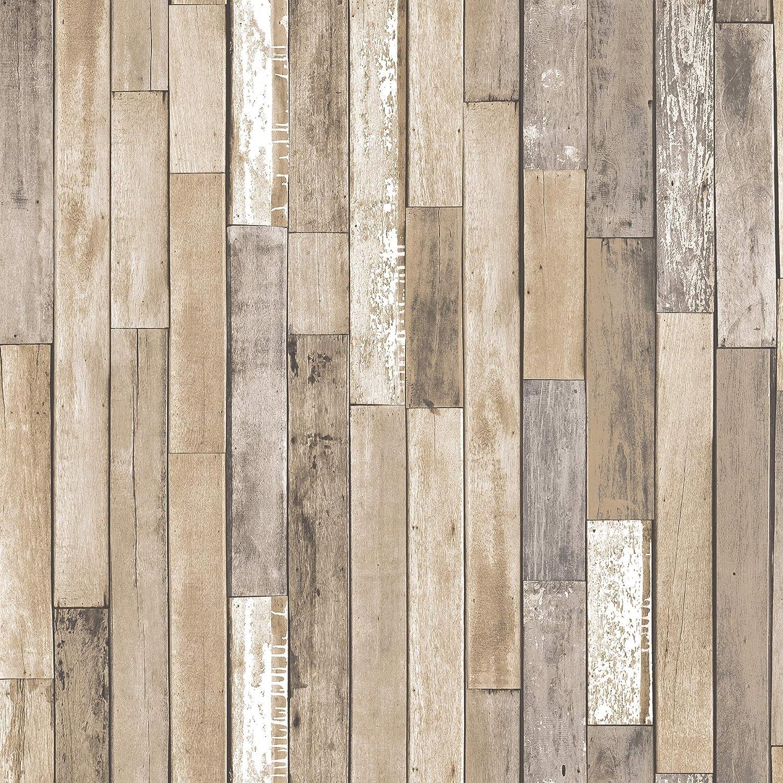 InHome NH3057 Weathered Plank Barn Peel & Stick Wallpa Peel and Stick Wallpaper, Brown