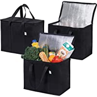3 Pack Insulated Reusable Grocery Bag by VENO, Durable, Heavy Duty, Extra Large Size, Stands Upright, Collapsible…