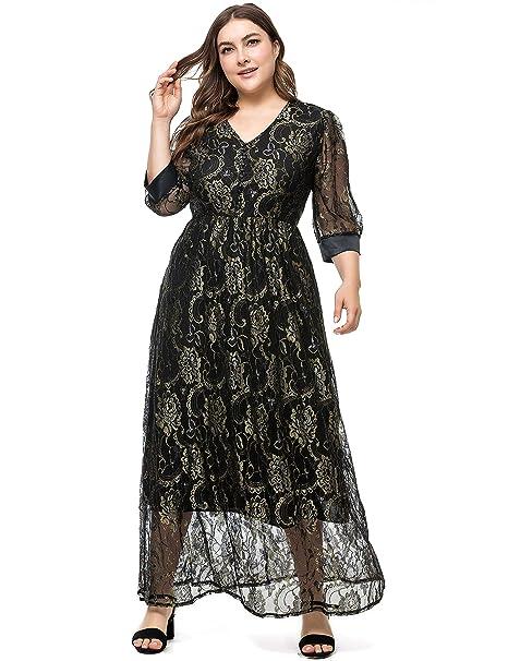 Amazon.com: Jhichic vestido de encaje para mujer, tamaño ...