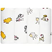 Swaddle Blankets - Cotton Muslin Newborn Baby Gifts, Unisex Gender Neutral Baby Shower for Boy Girl, Large 47 inch, 4 Count Pack Gift Box Set, Stroller Blanket Expectant Mother, Farmyard Collection
